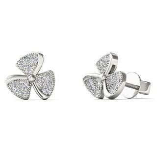 AALILLY 10k White Gold Diamond Accent Fan Blades Fashion Stud Earrings (H-I, I1-I2)