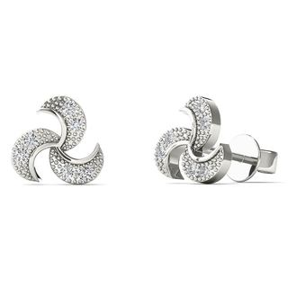 10k White Gold Diamond Accent Turbine Blades Fashion Stud Earrings (H-I, I1-I2)