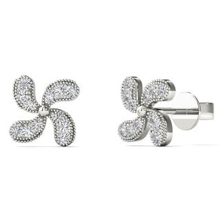 10k White Gold Diamond Accent Fashion Stud Earrings (H-I, I1-I2)