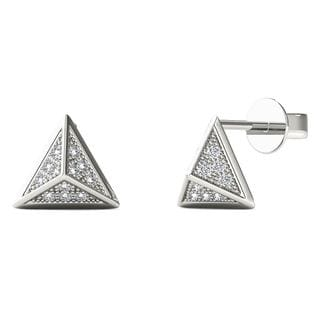 AALILLY 10k White Gold Diamond Accent Pyramid Stud Earrings (H-I, I1-I2)