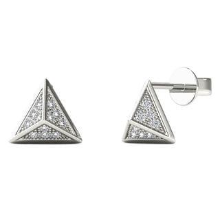 10k White Gold Diamond Accent Pyramid Stud Earrings (H-I, I1-I2)