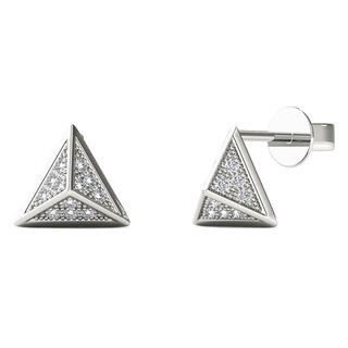 AALILLY 10k White Gold Diamond Accent Pyramid Stud Earrings