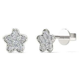 AALILLY 10k White Gold Diamond Accent Star Stud Earrings