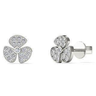 10k White Gold 1/10ct TDW Diamond Fashion Stud Earrings (H-I, I1-I2)