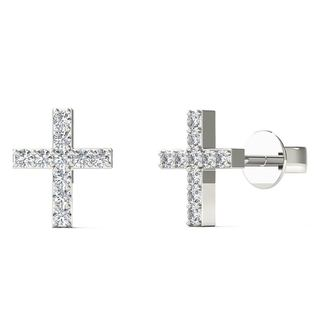 AALILLY 10k White Gold Diamond Accent Cute Cross Stud Earrings