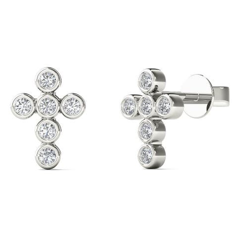 AALILLY 10k White Gold Diamond Accent Cross Fashion Stud Earrings (H-I, I1-I2)