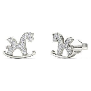 10k White Gold Diamond Accent Horse Stud Earrings (H-I, I1-I2)