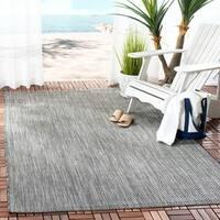Safavieh Indoor/ Outdoor Courtyard Black/ Beige Rug - 4' x 5' 7