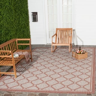 Safavieh Indoor/ Outdoor Courtyard Red/ Beige Rug (4' x 5'7)