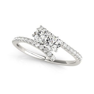 14k White Gold 3/4ct TDW Diamond Two-Stone 'My Best Friend' Ring (G-H, I1-I2)
