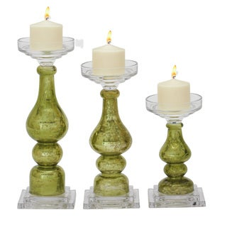 Green Glass Tall Candle Holders (Set of 3)