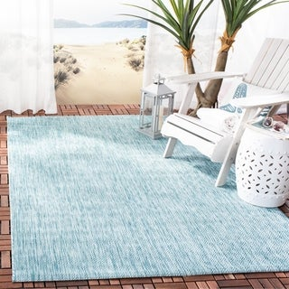 Safavieh Indoor/ Outdoor Courtyard Aqua/ Aqua Rug (4' x 5' 7)
