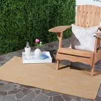 Safavieh Indoor/ Outdoor Courtyard Natural/ Cream Rug (4' x 5' 7)