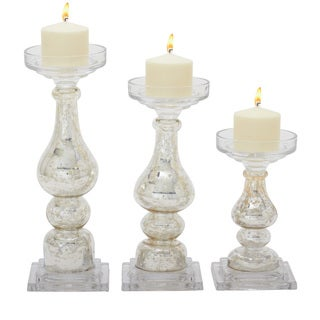 Off-white Glass Candle Holders (Set of 3)