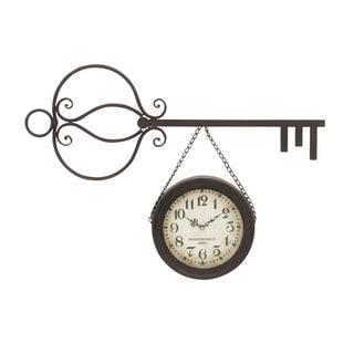 Black/ Brown Metal Wall Clock