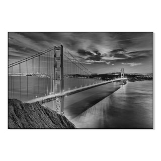 Gallery Direct Golden Gate Bridge in Black and White Print on Mounted Metal Wall Art