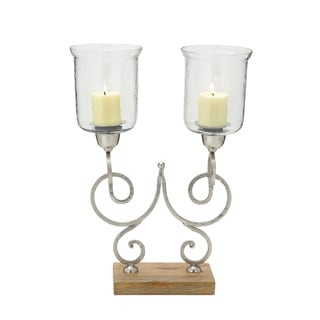 Metal Wood Glass Candle Holder