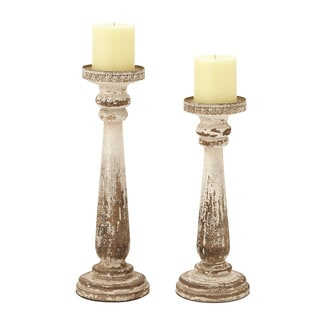 Brown Wood Candle Holders (Set of 2)