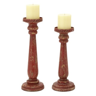 Wood Candle Holders (Set of 2)