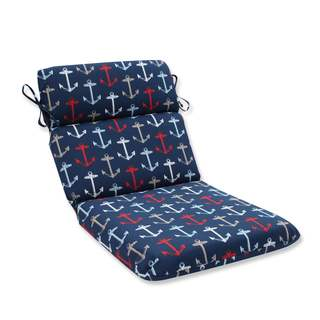 Pillow Perfect Outdoor/ Indoor Anchor Allover Arbor Navy Rounded Corners Chair Cushion