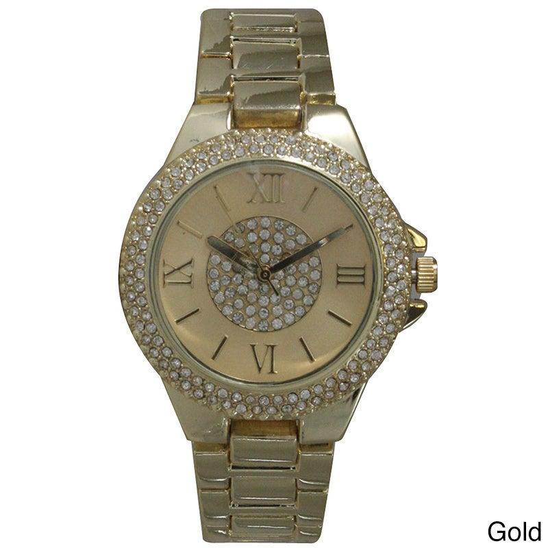 Olivia Pratt Rhinestone Elegance Bracelet Watch (Gold), W...