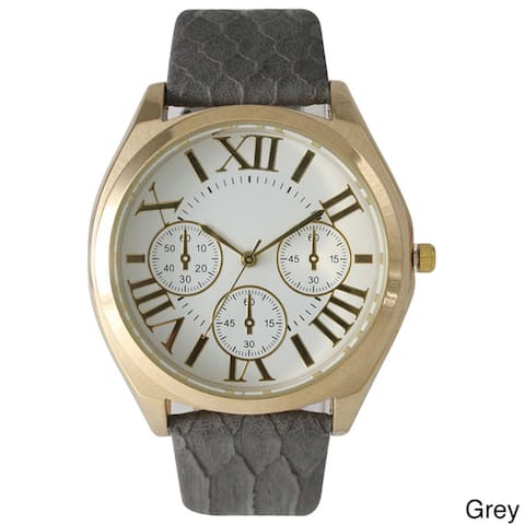Olivia Pratt Classic Embossed Leather Strap Watch