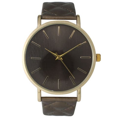 Olivia Pratt Metallic Quilted Strap Boyfriend Watch