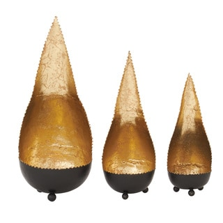 Gold Metal Candle Holders (Set of 3)