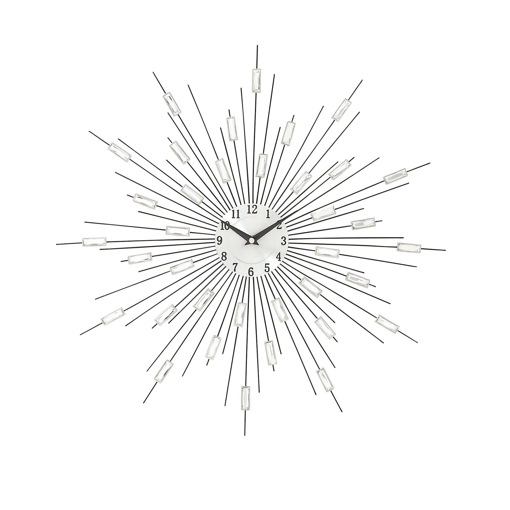 Silver Metal Acrylic Starburst Wall Clock Free Shipping On Orders