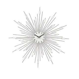 Silver Metal Acrylic Starburst Wall Clock