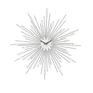 Carson Carrington Alavus Silver Metal Acrylic Starburst Wall Clock