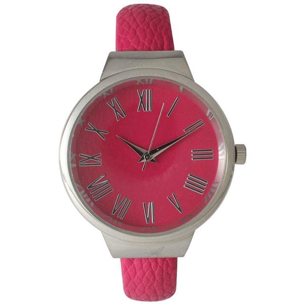 Olivia Pratt Roman Numeral Classic Leather Cuff Watch