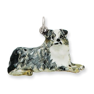 Versil Sterling Silver Enamel Profile Australian Shepherd Charm