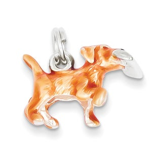 Versil Sterling Silver Beige and Enamel Running Dog Charm