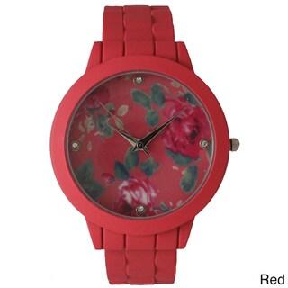 Olivia Pratt Ceramic Floral Cuff Bracelet Watch