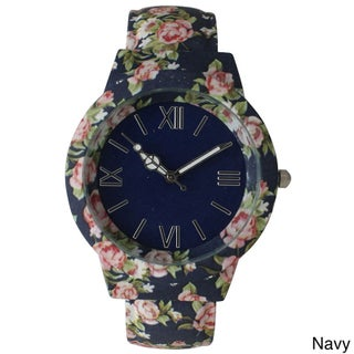 Olivia Pratt Vintage Flowers and Peace Cuff Watch (Option: Navy)