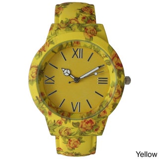 Olivia Pratt Vintage Flowers and Peace Cuff Watch (Option: Yellow)