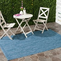 Safavieh Indoor/ Outdoor Courtyard Navy/ Navy Rug (5' 3 x 7' 7) - 5'3 x 7'7