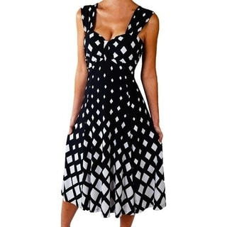 Funfash Women's Plus Size Black/ White Diamond Empire Waist Cocktail Dress