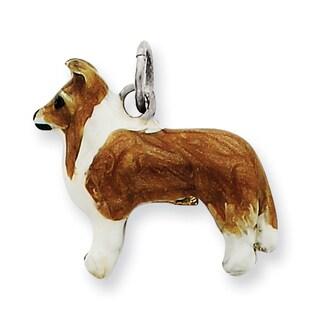 Versil Sterling Silver Enameled Shetland Sheepdog Charm