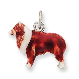 Versil Sterling Silver Enameled Small Collie Charm