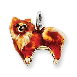 Versil Sterling Silver Enameled Small Pomeranian Charm