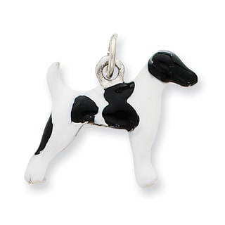 Versil Sterling Silver Enameled Smooth Hair Fox Terrier Charm