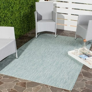 Safavieh Indoor/ Outdoor Courtyard Aqua/ Grey Rug (6' 7 x 9' 6)