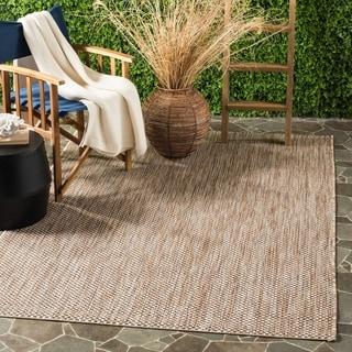 Safavieh Indoor/ Outdoor Courtyard Natural/ Black Rug (6' 7 x 9' 6)