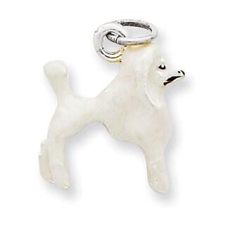 Versil Sterling Silver Enameled White Poodle Charm