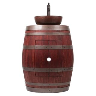 Premier Copper Products Wine Barrel Cabernet Finish Vanity Package with 15-inch Round Vessel Sink and Vessel Filler Faucet