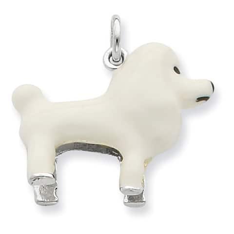 Versil Sterling Silver White Enamel Poodle Pendant