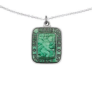 Versil Sterling Silver and Teal Enamel Saint Christopher Square Pendant Necklace
