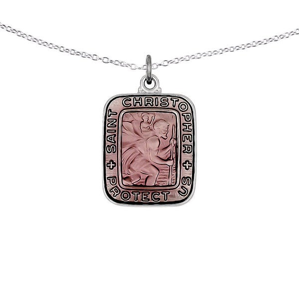 Christopher Medal Charm Pendant .925 Sterling Silver Pink Enamel Square St